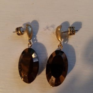 Kenneth Cole bronze oval quartz cut earrings